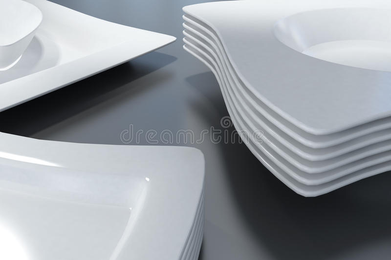 White plates. Stacks of elegant white plates and bowls with wavy edges on a black surface vector illustration