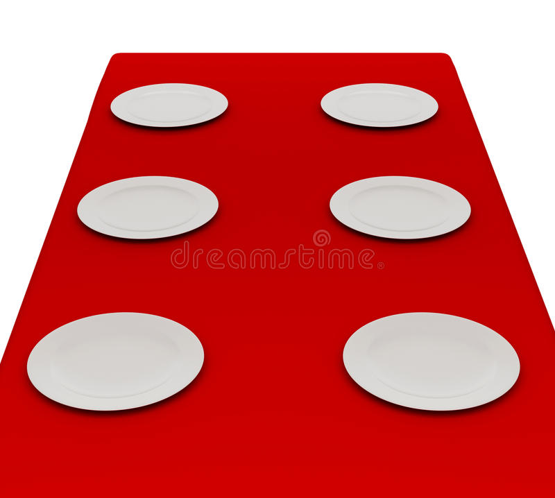 Download White Plates On A Red Cloth. Stock Illustration - Image: 21492452
