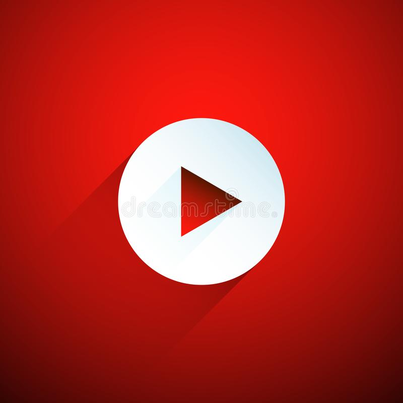 White play button on red background vector illustration