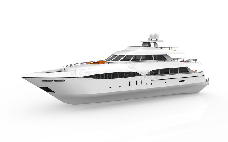 White Pleasure Yacht Isolated on White Background royalty free illustration