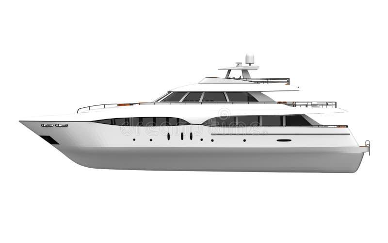 White Pleasure Yacht Isolated on White Background stock illustration