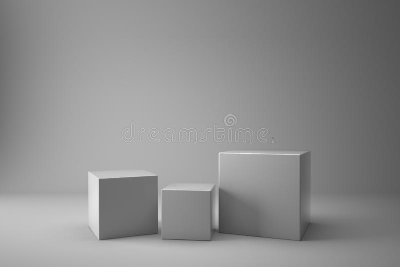White Podium Box Cubes 3D Blank Display On Empty White Backdrop With Boxes royalty free illustration
