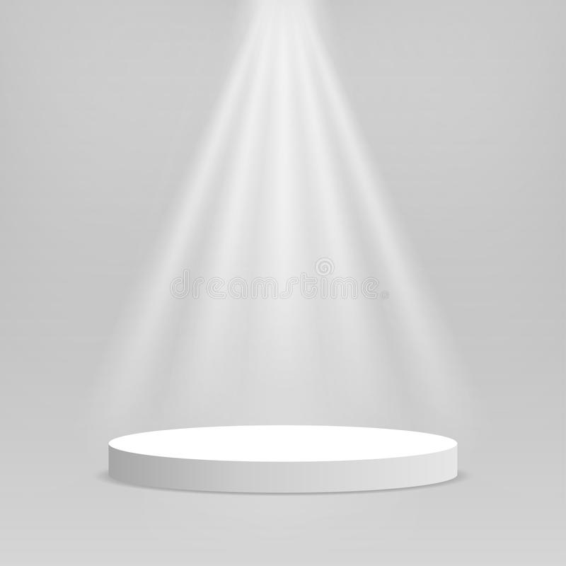 White podium. Empty stage podium. Round stage with lighting for awards ceremony, product presentation, performance vector illustration