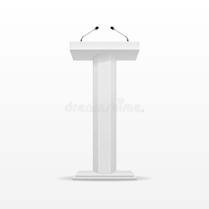White Studio Background With Podium: White Podium Tribune Rostrum Stand With Microphone Stock