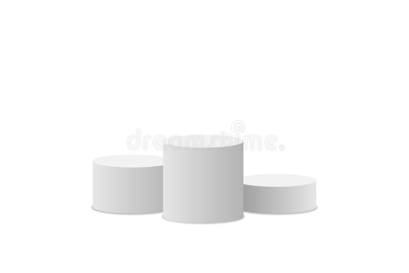 White podium. Winner pedestal. Scene. Empty 3d mockup style design of minimalist contest. Cylinder podium isolated on white backgr vector illustration