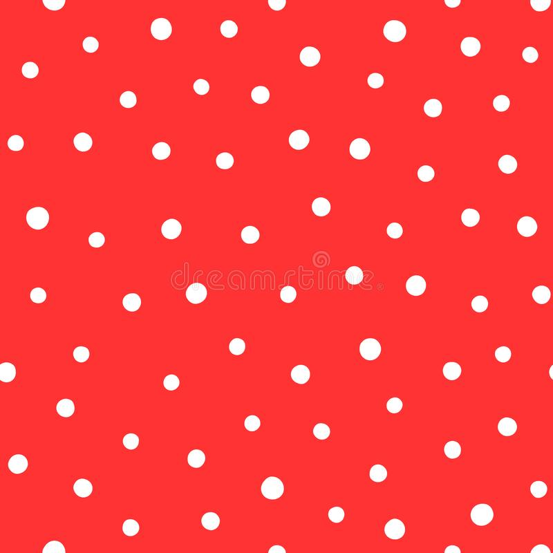 White polka dots on red background. Trendy seamless pattern. royalty free illustration