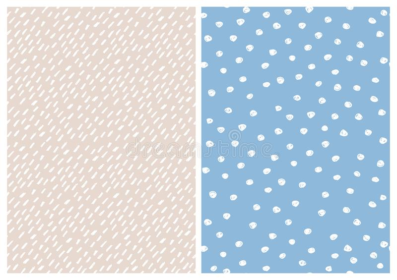 Abstract Hand Drawn Childish Vector Pattern Set. Polka Dots and Short Brush Lines. vector illustration