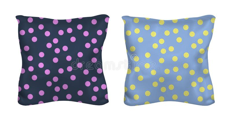 White and polka dots square pillow. Vector mock up.  vector illustration