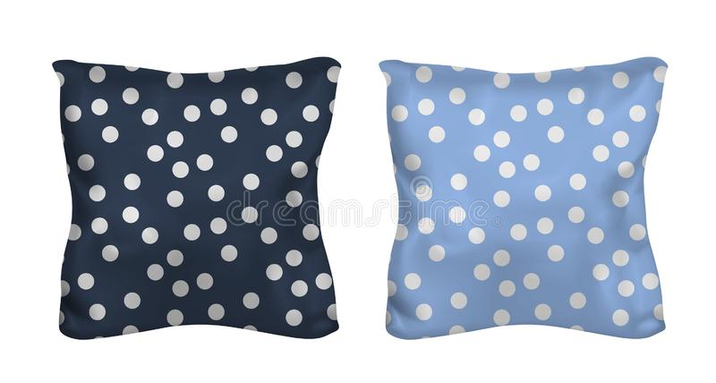 White and polka dots square pillow. Vector mock up.  royalty free illustration