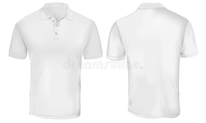 White Polo Shirt Template. Vector illustration of blank white polo t-shirt template, front and back design isolated on white royalty free illustration