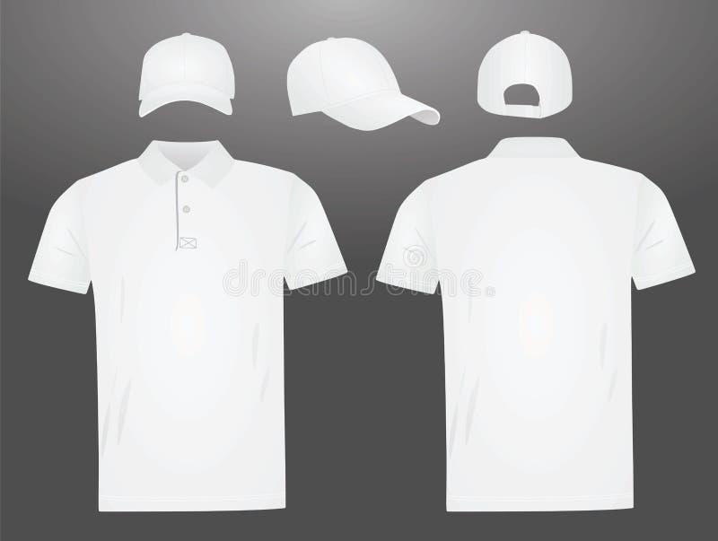 White polo t shirt and baseball cap. Vector illustration stock illustration