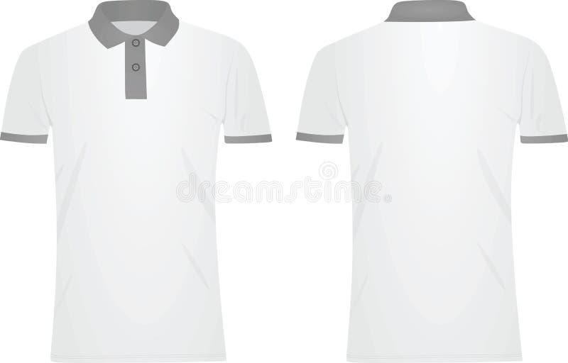 White polo t shirt. grey collar. Vector illustration stock illustration