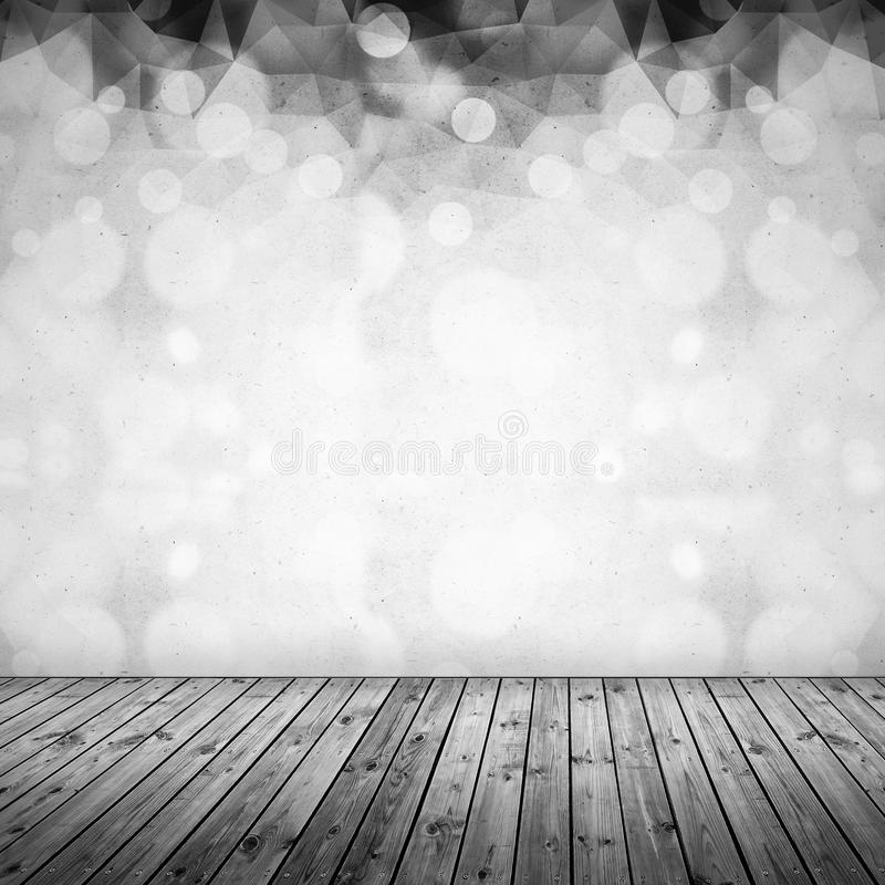White polygonal with grunge and bokeh blur, abstract vintage background with old wooden pattern floor. royalty free stock photos