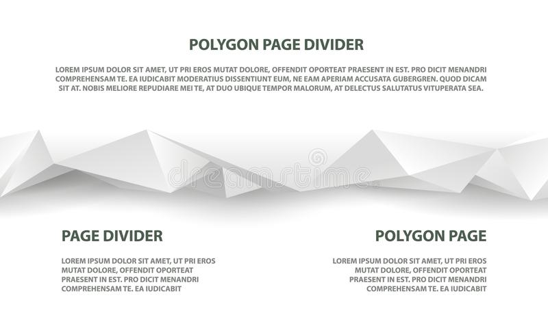 White polygonal seamless divider for website and landing page royalty free illustration