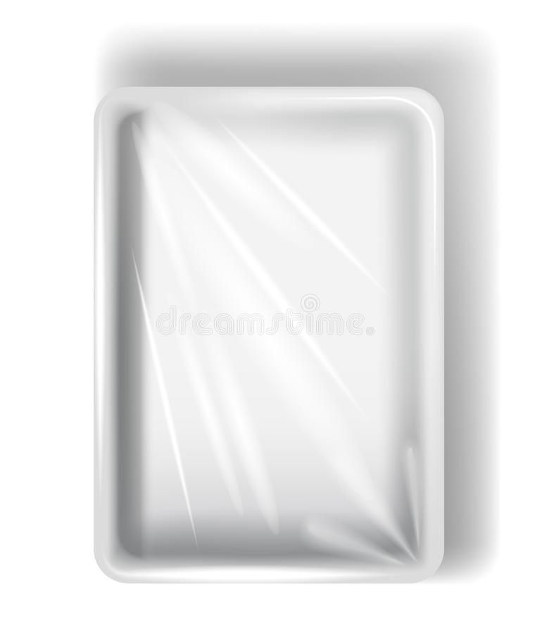 White polystyrene packaging, with transparent film. Isolated on white background. vector illustration