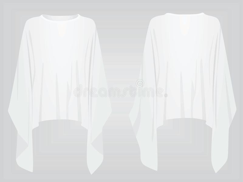 White poncho. front and back view. Vector illustration vector illustration