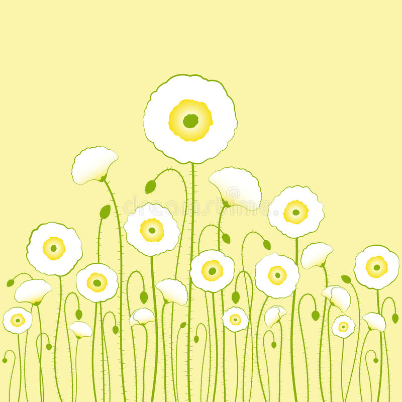 Download White Poppy On Yellow Background Stock Vector - Illustration: 20250157