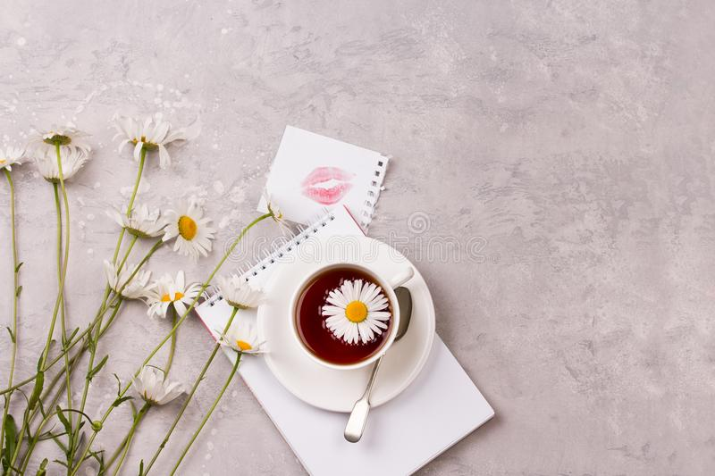 Cup of tea with chamomile flowers on grey stone background royalty free stock images