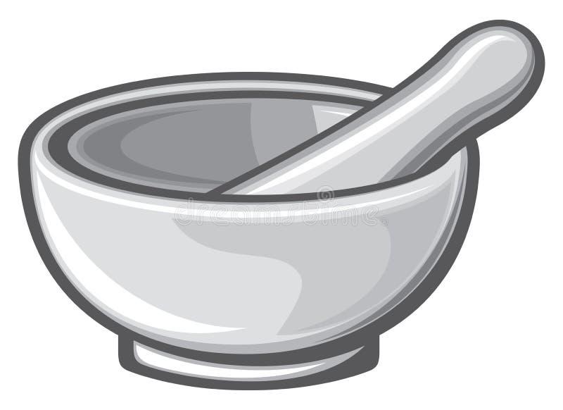 Mortar and pestle stock illustration