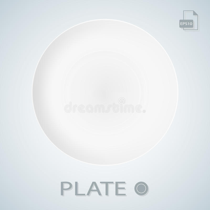 White Porcellan Plate Isolated On A Background. Vector Illustration. vector illustration