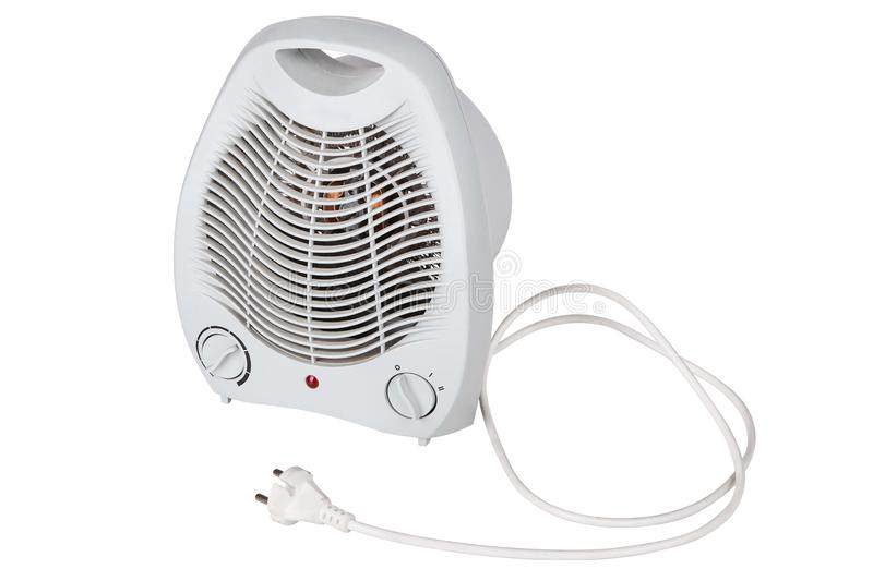 White portable electric heater isolated on white background. stock images