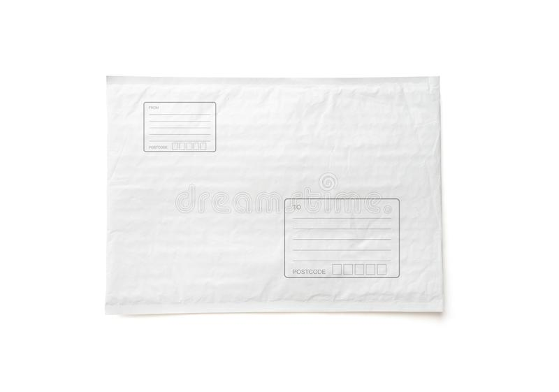 White postal package with area for write address. Plastic parcel object background for online shopping advertising. Isolated on stock photography