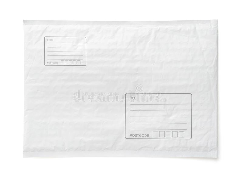 White postal package with area for write address. Plastic parcel object background for online shopping advertising. Isolated on royalty free stock image