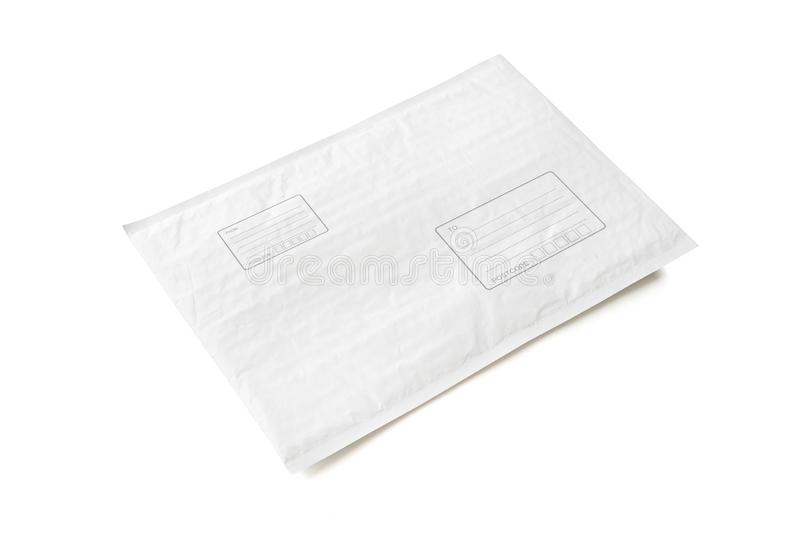 White postal package with area for write address. Plastic parcel object background for online shopping advertising. Isolated on stock photos