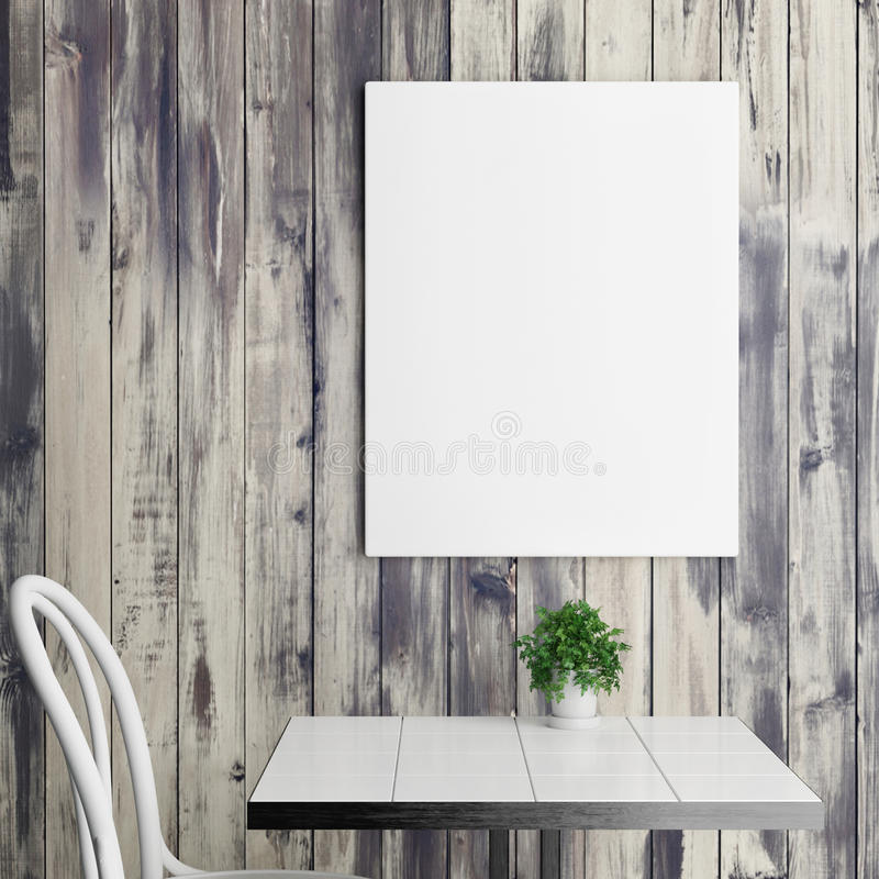 White poster above coffee table, wooden background royalty free illustration