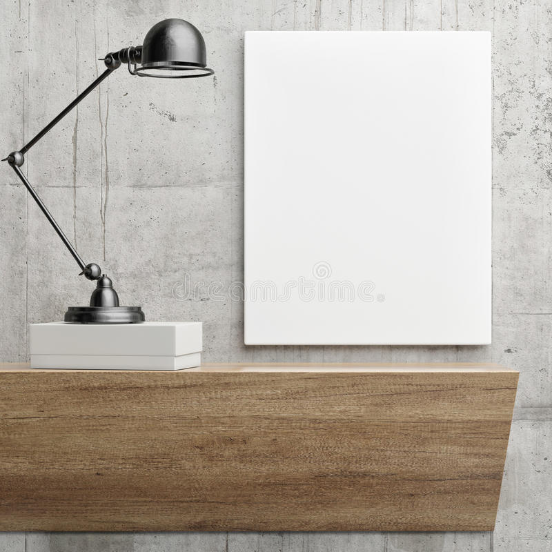White poster on concrete wall with black metal lamp, minimalism interior decor composition. 3d illustration stock illustration