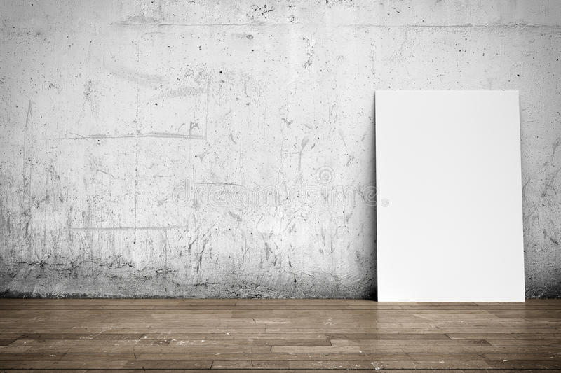 White poster on concrete wall and wood floor. Three-dimensional illustration of interior: white blank poster on concrete wall and wood floor royalty free stock images