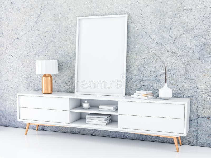 White Poster Frame Mockup Standing On The Modern Bureau