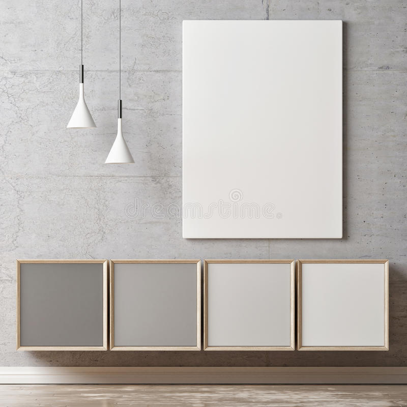 White poster, gray scale color chest of drawers royalty free illustration