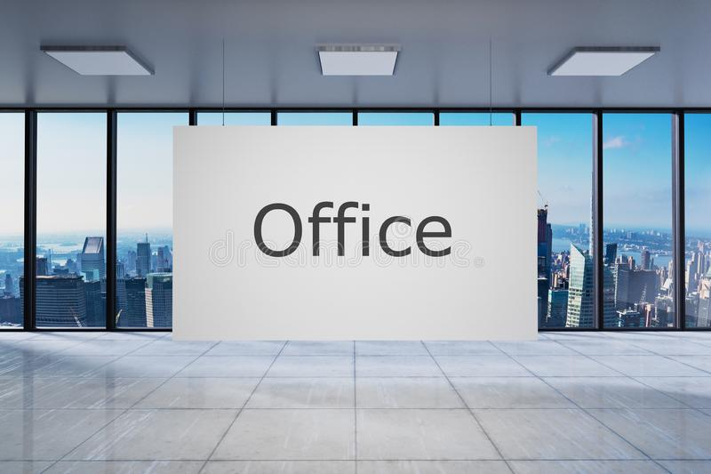 White poster in large modern empty office with skyline view 3D Illustration stock illustration