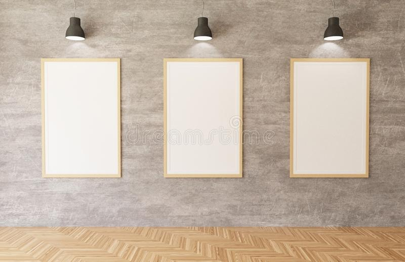 3d rendering White posters and frames hanging on the concrete wall background in the room,lights,wooden floor vector illustration
