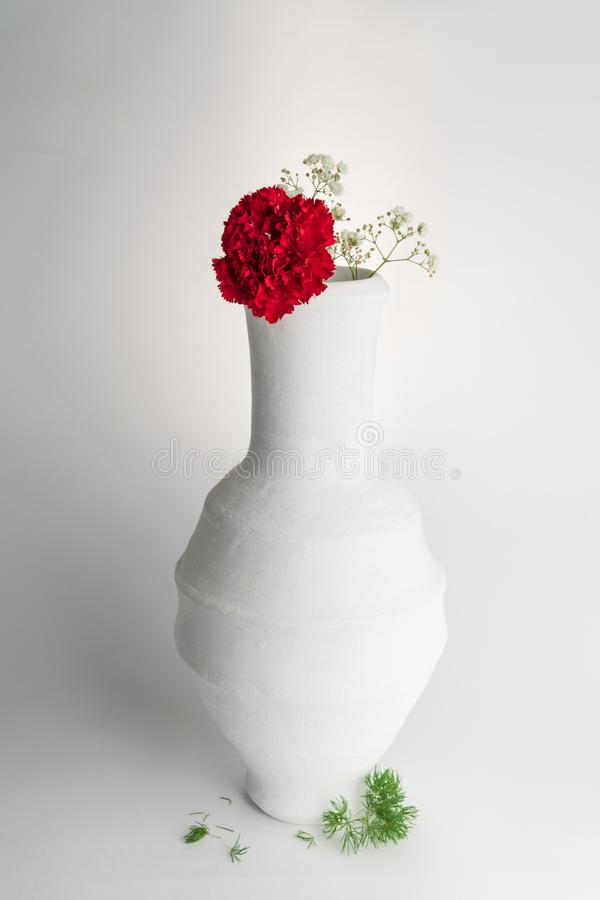 White pottery vase and red flower on white background royalty free stock photography