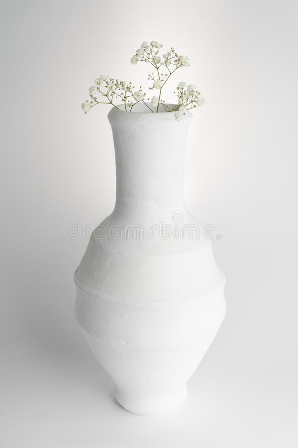 White pottery vase and small white flowers on white background royalty free stock images