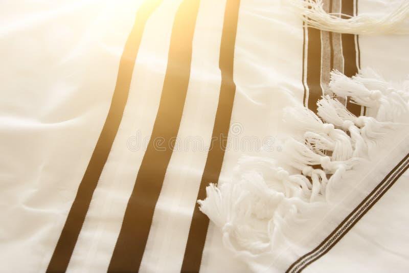 White Prayer Shawl - Tallit, jewish religious symbol. royalty free stock photography