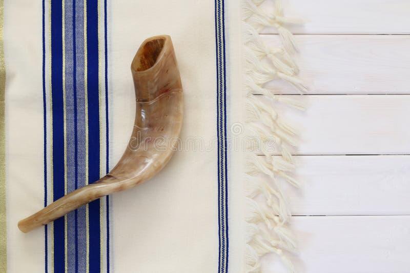 White Prayer Shawl - Tallit, and Shofar (horn). Jewish religious royalty free stock photos