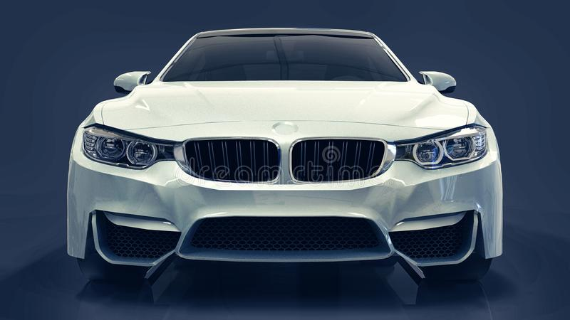 White premium BMW car. Three-dimensional illustration on a dark blue background. 3d rendering. stock illustration