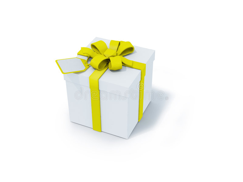 White present box with yellow ribbon royalty free illustration
