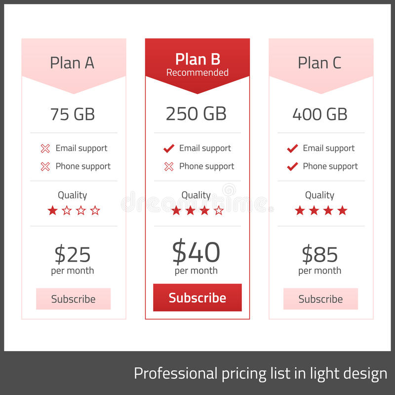 White pricing list with red elements vector illustration