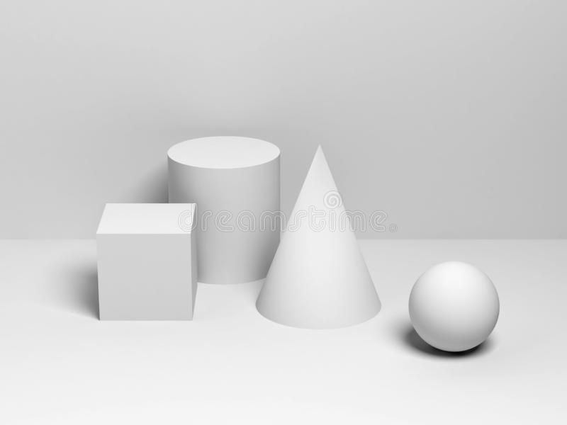 White primitive geometric shapes. 3d render vector illustration