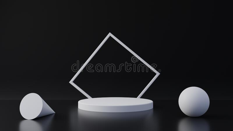 White product stand on black background. Abstract minimal geometry concept. Studio podium platform theme. Exhibition and business. Marketing presentation stage royalty free illustration