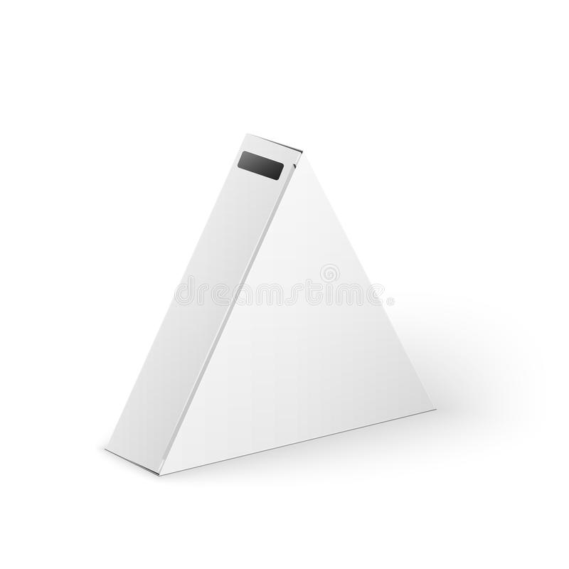 white product triangle package box mock up stock illustration