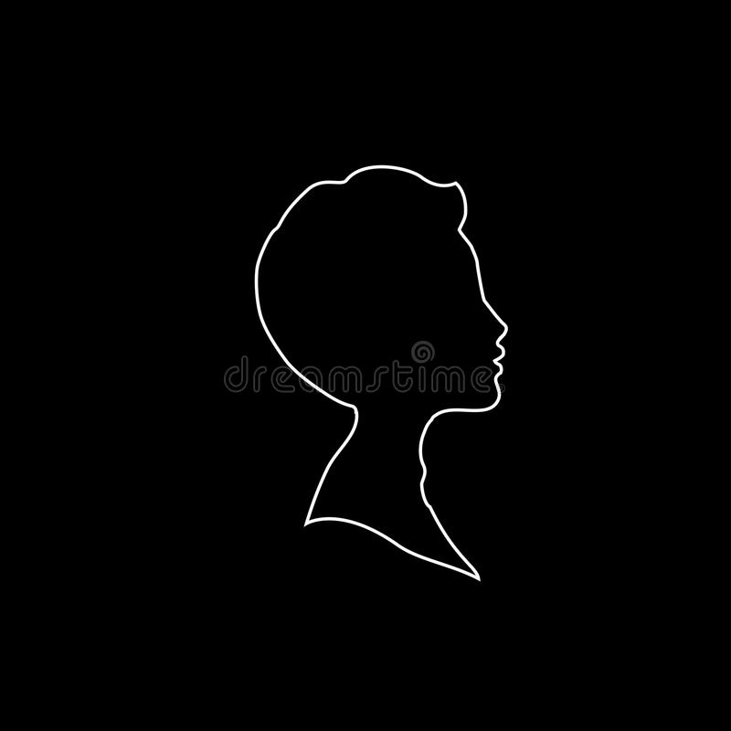 White profile outline silhouette of boy or man face profile on black background stock illustration