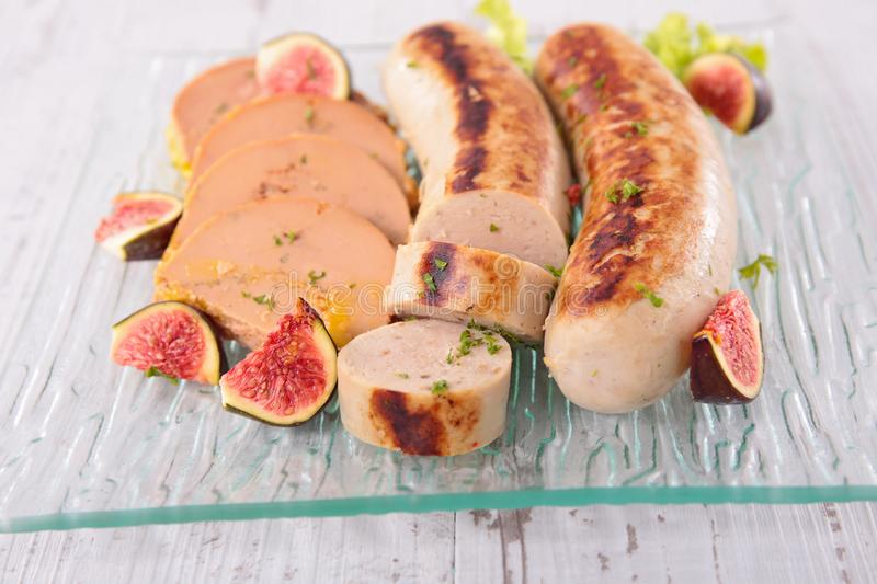 White pudding, sausage and foie gras stock photography