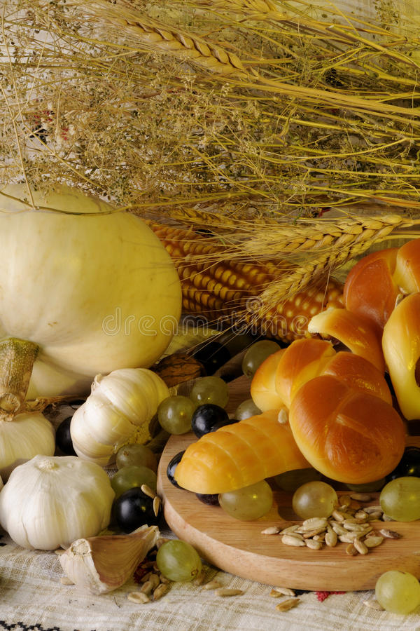 White pumpkin, cheese and grapes stock photo