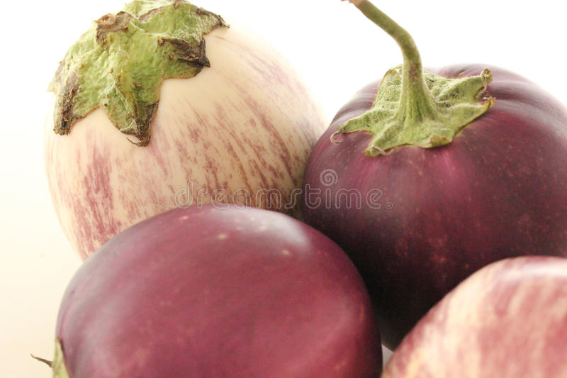 White and Purple Aubergines royalty free stock images
