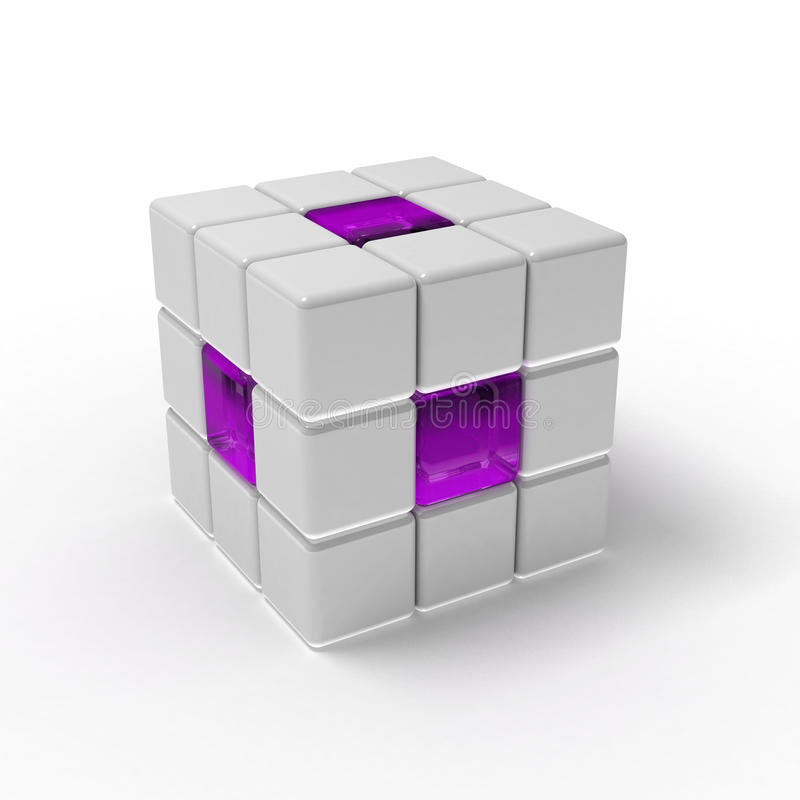 White and purple cube. 3D illustration of a white and purple cube matrix vector illustration
